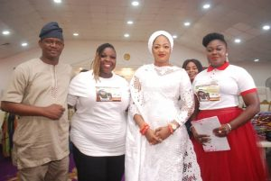 R-L Queen Blessing Ebigieson convener of Queen Blessing Foundation QBF Widows Empowerment; Olori Queen Naomi Ogunwusi, Actors Guild of Nigeria AGN Lagos Chapter Chairperson, Moji Oyetayo and another guest at Widows  Empowerment Held at Ooni's palace in Ile-ife