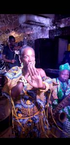 Latoya and Orlando Julius entertaining guests at the Bogobiri